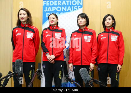 Ajinomoto National Training Center, Tokyo, Japan. 19th Apr, 2019. (L-R) Nozomi Sato, Ayumu Saito, Rie Yamada, Haruna Baba (JPN), APRIL 19, 2019 - Fencing : Japan National Team Training Session at Ajinomoto National Training Center, Tokyo, Japan. Credit: Naoki Nishimura/AFLO SPORT/Alamy Live News - Stock Image