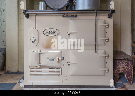 Aga Cooker Range at Beamish Living Open Air Museum - Stock Image