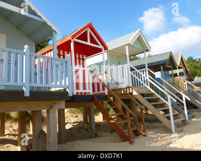 Colourful beach huts at Wells next the Sea, Norfolk, England. - Stock Image