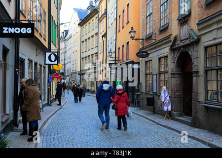 Shops and buildings in the Gamla Stan, Stockholm City, Sweden, Europe - Stock Image