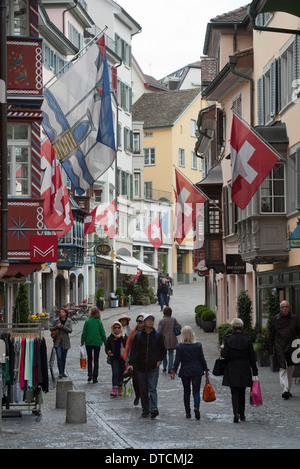 people in the old town of Zurich, Switzerland - Stock Image