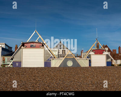 Head on shot of Aldeburgh Lifeboat Station taken from the beach side - Stock Image