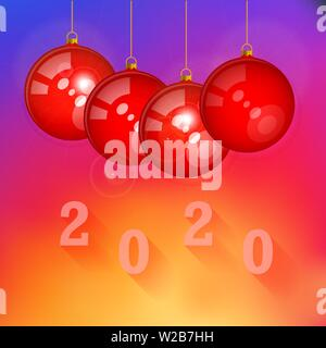 Glass Red Christmas Balls with Glares. Merry Christmas and Happy New Year 2020 Background, Template. Christmas Greeting Card. Vector Illustration. - Stock Image