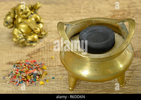 Chinese Incense Pot - Stock Image