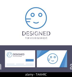Creative Business Card and Logo template Embarrassed, Emojis, School, Study Vector Illustration - Stock Image