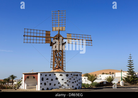 Traditional wooden windmill in old town of Teguise, Lanzarote, Canary Islands, Spain, Europe. - Stock Image