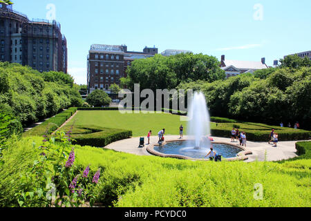 Beautiful Conservatory Garden is the only formal garden in Central Park, Manhattan on JULY 4th, 2017 in New York, USA. (Photo by Wojciech Migda) - Stock Image