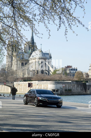 Citroen concept car on the banks of the River Seine in Paris. Expected official unveiling at Beijing Motor Show, - Stock Image