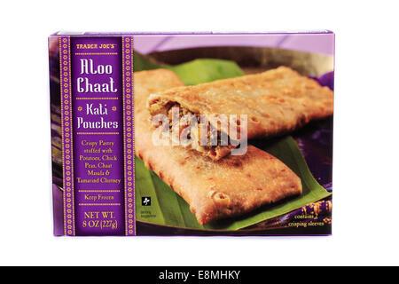 Trader Joe's Aloo Chaat Kati Pouches Frozen Prepared Dinner - Stock Image