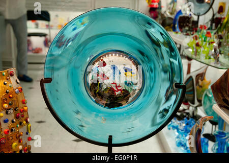 Murano glass artwork on sale in shop on Calle Lungha Venice Italy depicts aquarium with fish - Stock Image