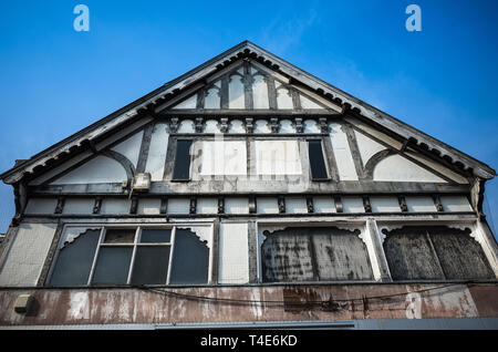 Wooden framed Tudor style building left abandoned in Northwich, Cheshire. - Stock Image