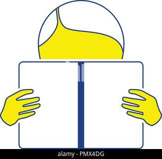 Icon of Boy reading book. Thin line design. Vector illustration. - Stock Image