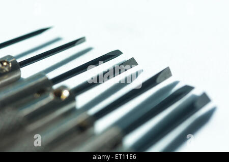 Macro-photo of jeweller's screwdriver set. - Stock Image
