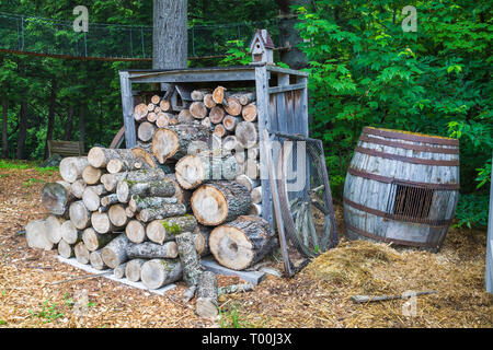 Cut and stacked pile of firewood in storage bin next to oak wood barrel in residential backyard in early summer - Stock Image