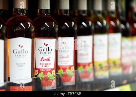 Bottles of Gallo wine on shelf - Stock Image
