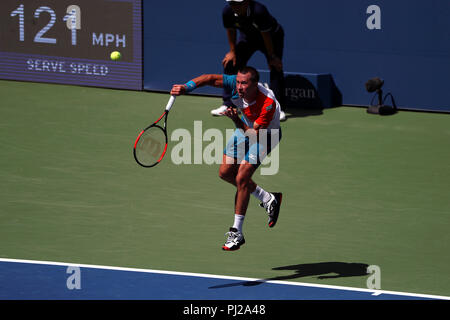 Flushing Meadows, New York - September 3, 2018: US Open Tennis:  Philipp Kohlschreiber of Germany serving to Kei Nihsikori of Japan during their fourth round match at the US Open in Flushing Meadows, New York. Credit: Adam Stoltman/Alamy Live News - Stock Image