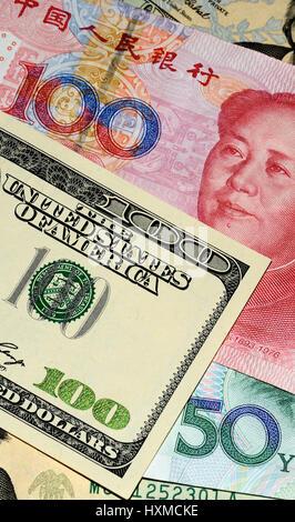 .chinese Yuan and U.S. dollars; 13/08/2015 - Stock Image