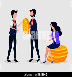 professional businessmen and busitesswoman sitting in the coins - Stock Image