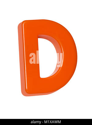 A cut out shot of an orange plastic letter 'D' - Stock Image