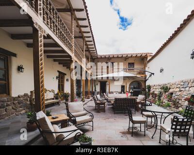 Cusco, Peru - January 3, 2017. View of the Antigua Casona San Blas hotel patio, a colonial style hotel. - Stock Image