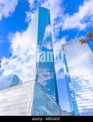 A view of the World Trade Center in lower Manhattan. A beautiful work of architecture and a moving memorial. - Stock Image