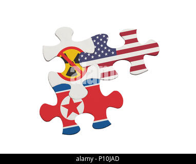 Jigsaw pieces depicting the denuclearisation issue between USA and North Korea isolated on white background - Stock Image