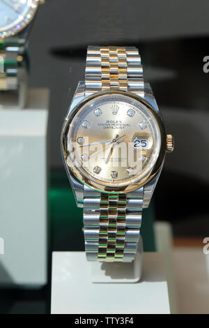 Monte-Carlo, Monaco - June 16 2019: Expensive Luxury Rolex Watches On Display In A Store Window At Monte-Carlo, Monaco. Close Up View / Macro Shot - Stock Image