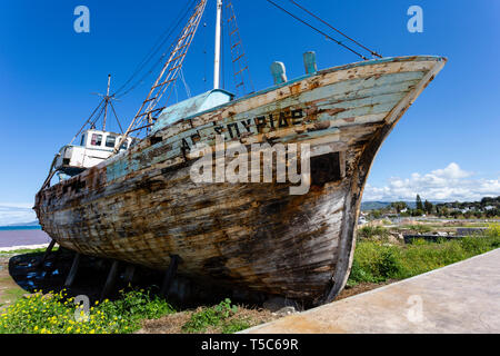 Abandoned fishing boat, Polis harbour, Northwest Cyprus - Stock Image