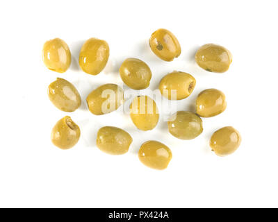 green olives with olive oil on a white background - Stock Image