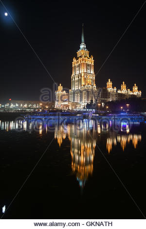 The hotel 'Radisson' on the banks of the Moscow river. Night panorama of the big city. - Stock Image