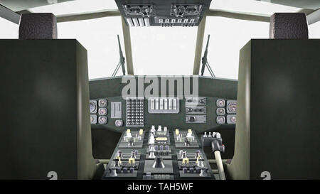 Cockpit of helicopter in flight, military aircraft, army chopper isolated on white background, 3D rendering - Stock Image