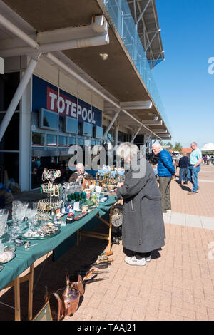 Antique fair stalls at Rowley Mile Racecourse Newmarket 2019 - Stock Image