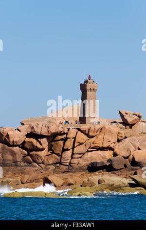 Lighthouse, Le Phare de Men Ruz, Ploumanach, Cotes d'Armor, Brittany, France, Europe. - Stock Image