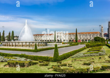 Garden Praca do Imperio and Jeronimos Monastery in Lisbon, Portugal, Belem District. - Stock Image