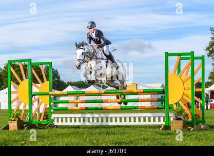 Rockingham Castle grounds, Corby, England. Saturday 20th May 2017.  The New Zealand olympic rider Andrew Nicholson - Stock Image