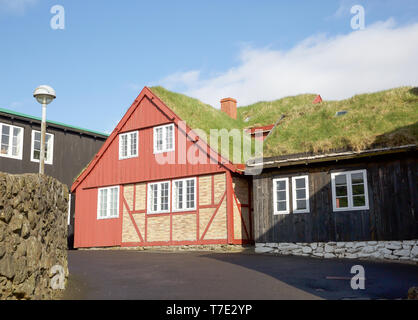 Torshavn,Faroe Islands,7th May 2019,Blue skies over Torshavn in the Faroe Islands, despite snowfall early this morning due to an Arctic Blast. All the houses have grass roofs for insulation.Credit: Keith Larby/Alamy Live News - Stock Image