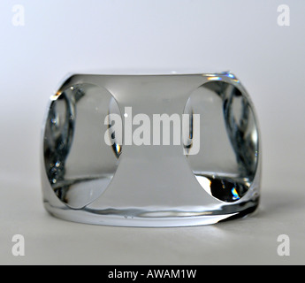 Crystal Glass Faceted Paperweight - Stock Image