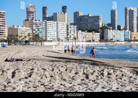 Poniente Beach, Benidorm, Costa Blanca, Spain. 22nd Jan, 2018. Winter sun in Benidorm, Spain. Temperatures of 26.3 - Stock Image