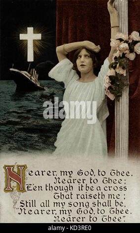 RMS Titanic Launched, 31/05/1911. Mourning postcard after Titantic disaster with hymn 'Nearer My God to Thee'. - Stock Image