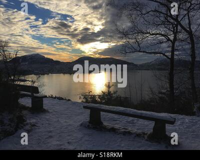 Sunset over byfjorden, Bergen, Norway - Stock Image