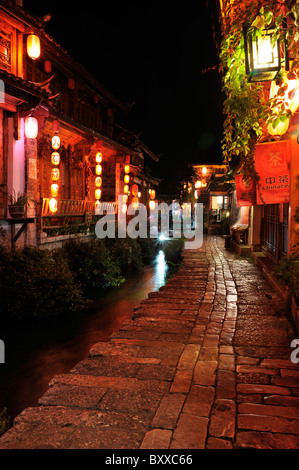 Old town by night, Lijiang, China - Stock Image