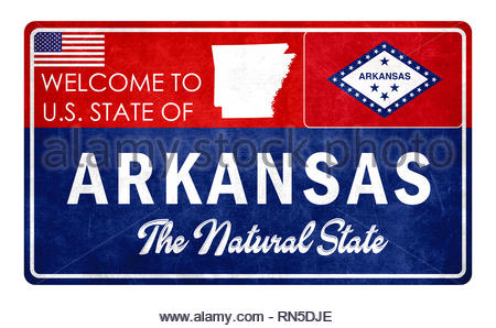 Welcome to Arkansas - grunde sign - Stock Image
