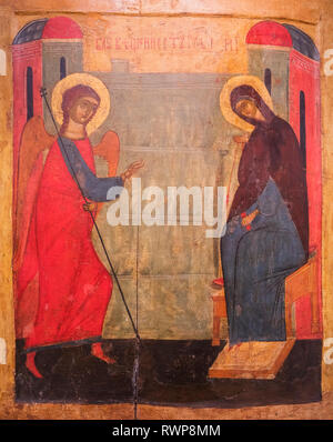 Annunciation icon, 15th century, Palekh, Ivanovo region, Russia - Stock Image