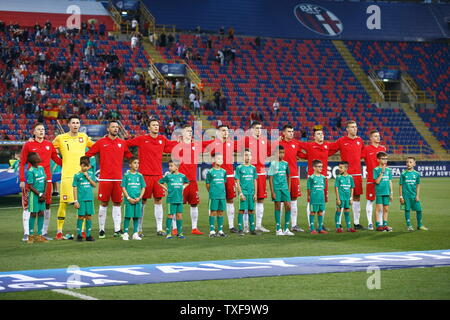 the Stadio Renato Dall'Ara, Bologna, Italy. 22nd June, 2019. Under-21 Poland team group line-up (POL), JUNE 22, 2019 - Football/Soccer : UEFA European Under-21 Championship 2019 Group stage match between Under-21 Spain 5-0 Under-21 Poland at the Stadio Renato Dall'Ara, Bologna, Italy. Credit: Mutsu Kawamori/AFLO/Alamy Live News - Stock Image