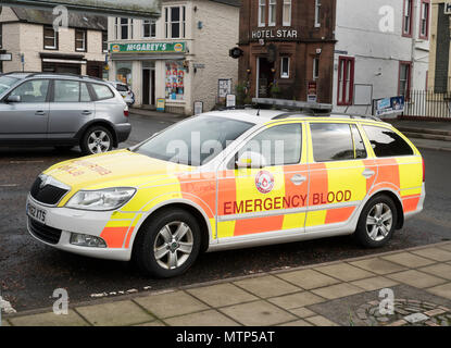 Emergency blood delivery vehicle, Moffat, Dumfries and Galloway, Scotland, UK - Stock Image