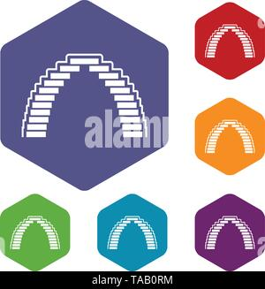 Pyramid arch icons vector hexahedron - Stock Image