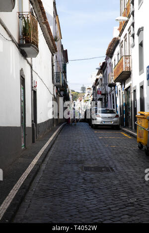 Narrow street in Sao Miguel in The Azores - Stock Image