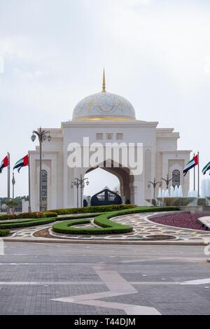 April, 4, 2019: Abu Dhabi, UAE: Entrance of Presidential Palace, Qasr al Watan, Abu Dhabi. - Stock Image