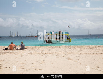 Glass Bottom boat by the Beach in Bridgetown, Barbados - Stock Image