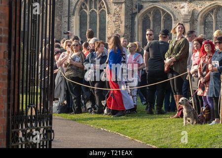 Braintree, Essex, UK. 29th Mar 2019.  Funeral of Prodigy frontman Keith Flint at St Mary's Church in Bocking attended by hundreds of his fans Only friends and family were allowed in the church Credit: Ian Davidson/Alamy Live News - Stock Image